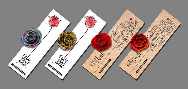 Punts de llibre amb rosa del taller d'Arrels